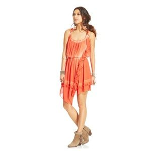 FP Tie Dye Aphrodite Pimiento Orange Ruffled Dress